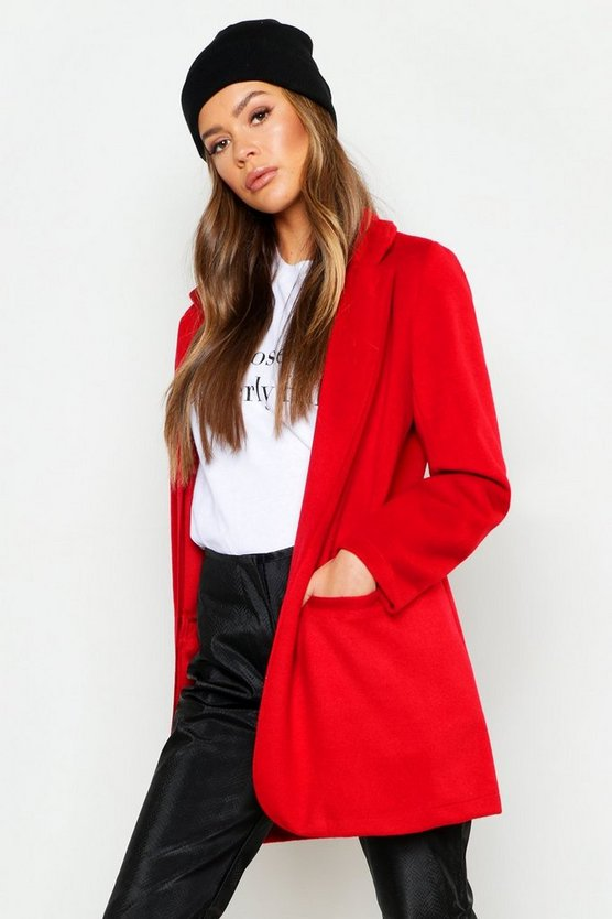 Womens Red Tailored Wool Look Coat