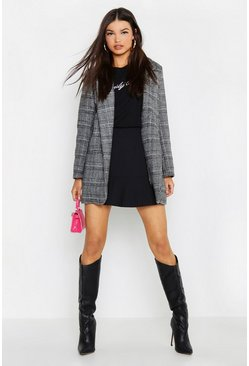 Womens Grey Checked Wool Look Boyfriend Coat