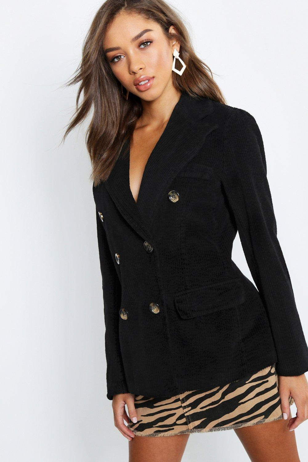 Cord Double Breasted Blazer Coat