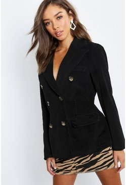 Womens Black Cord Double Breasted Blazer Coat