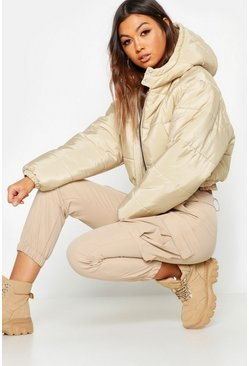 Womens Stone Crop Hooded Puffer Jacket