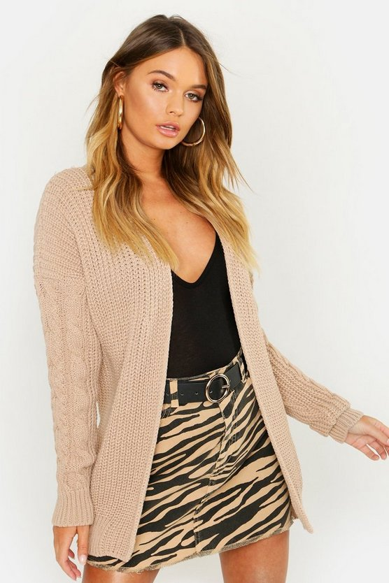 Cable Sleeve Belted Cardigan