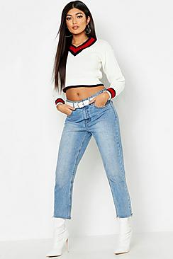 Cropped Contrast Trim Cricket Sweater