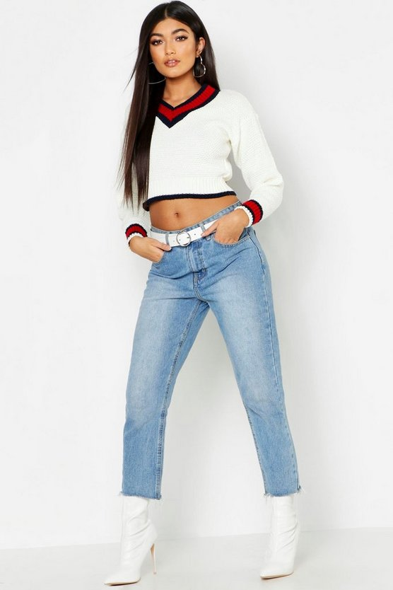 Womens Cream Cropped Contrast Trim Cricket Jumper