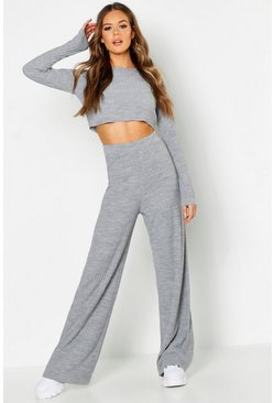 Womens Grey Rib Knit Wide Leg Knitted Set