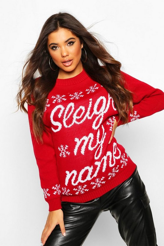 Red Sleigh My Name Snowflake Slogan Christmas Jumper