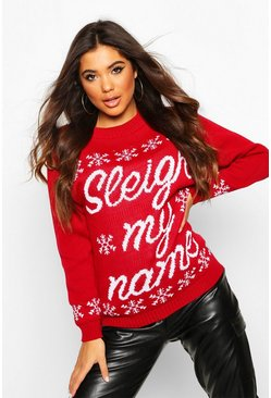 Womens Red Sleigh My Name Snowflake Slogan Christmas Jumper