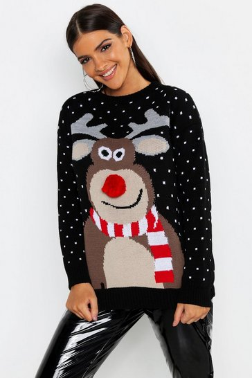 Womens Black Pom Pom Reindeer Christmas Jumper