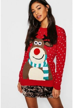 Red Pom Pom Reindeer Christmas Jumper