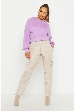 Womens Lilac Cropped Hoody