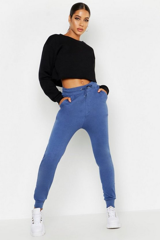 Womens Denim-blue Basic Jogger
