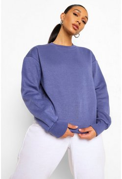 Womens Denim Basic Crew Neck Oversized Sweat