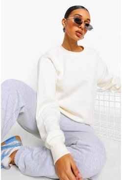 Ecru Basic Crew Neck Oversized Sweat