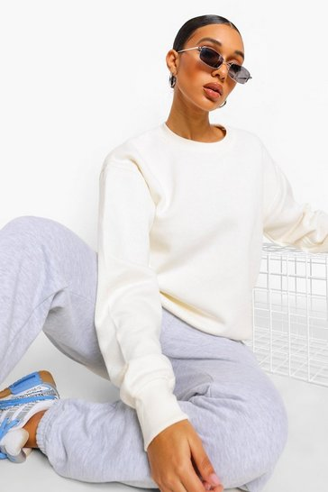 Womens Ecru Basic Crew Neck Oversized Sweat
