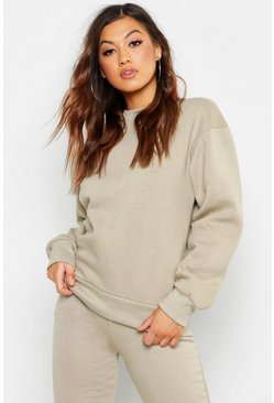 Grey Basic Crew Neck Oversized Sweat