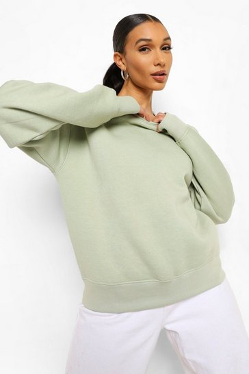 Womens Sage Basic Crew Neck Sweat