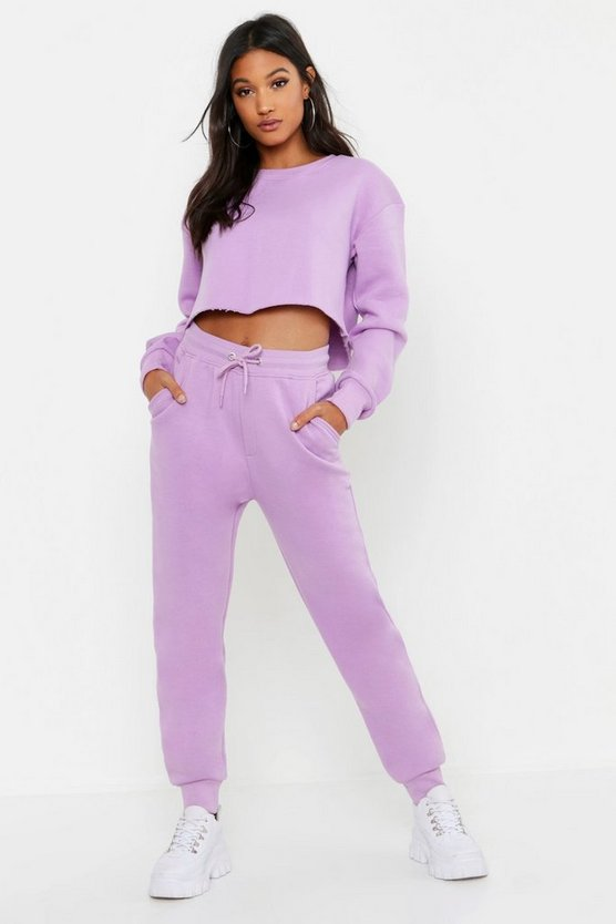 Womens Lilac Cropped Crew Neck Sweat