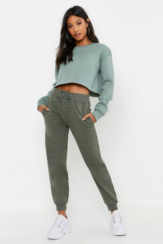 Womens Sage Cropped Crew Neck Sweat