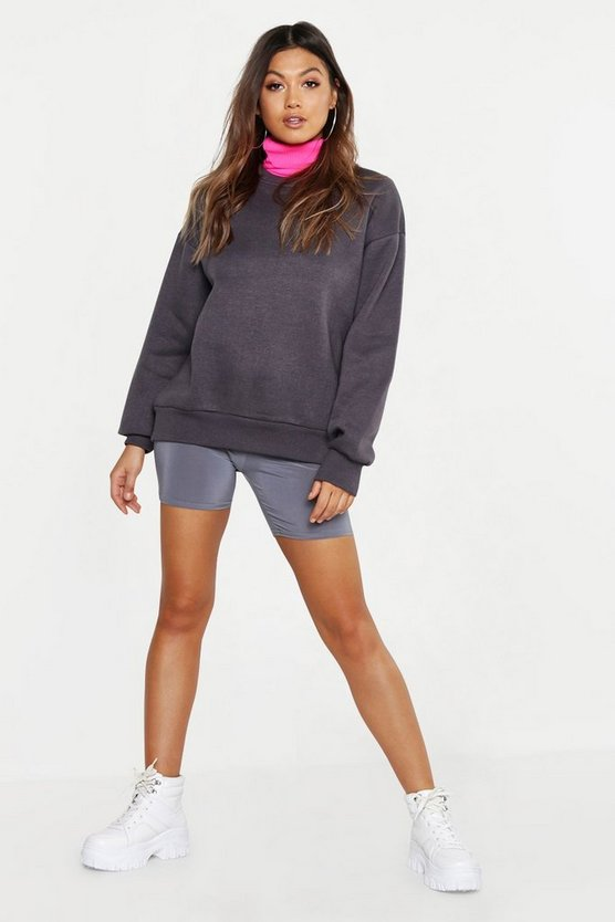 Womens Charcoal Oversized Crew Neck Sweat