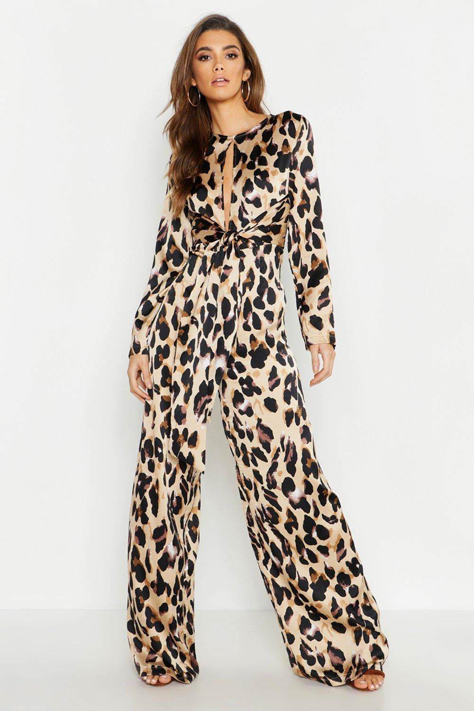 Satin Leopard Tie Knot Jumpsuit