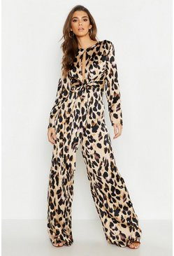 Womens Tan Satin Leopard Tie Knot Jumpsuit