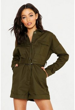 Womens Khaki Heavy Twill Utility Boiler Playsuit