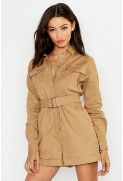 Womens Stone Heavy Twill Utility Boiler Playsuit