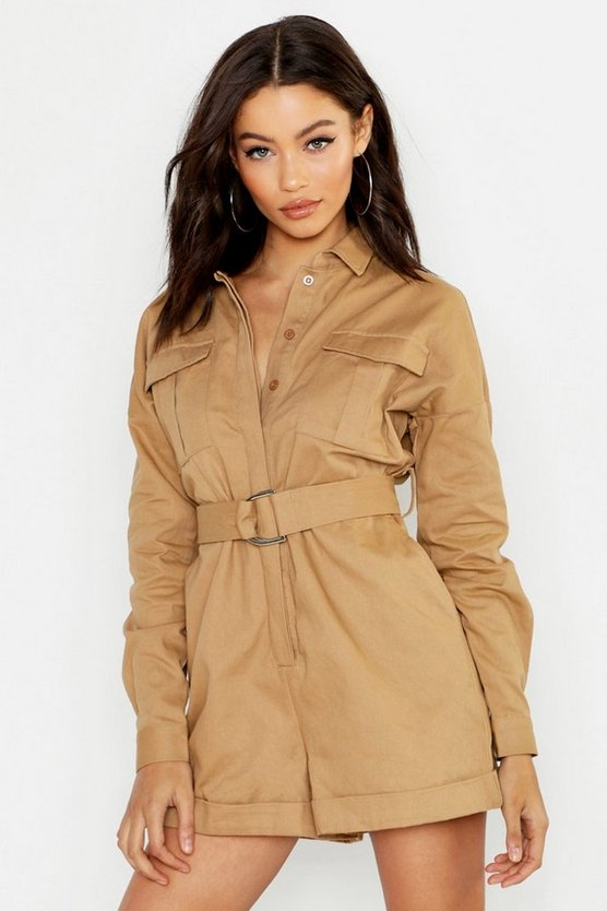 Womens Heavy Twill Utility Boiler Playsuit
