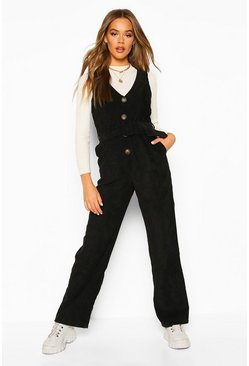 Black Cord Pinafore Belted Jumpsuit
