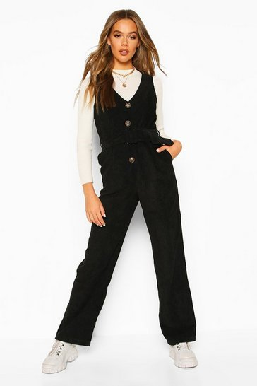 Womens Black Cord Pinafore Belted Jumpsuit