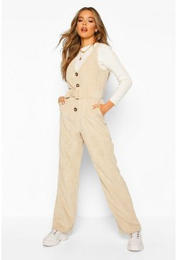 Ecru Cord Pinafore Belted Jumpsuit