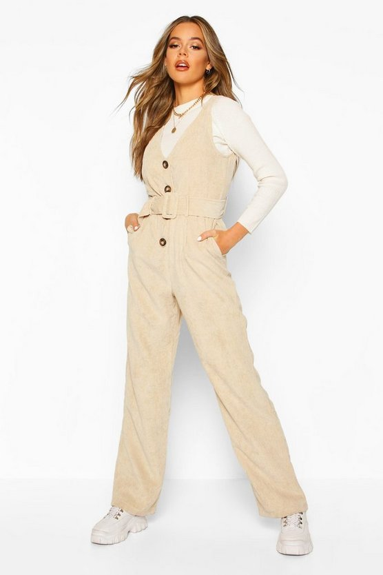 Womens Ecru Cord Pinafore Belted Jumpsuit