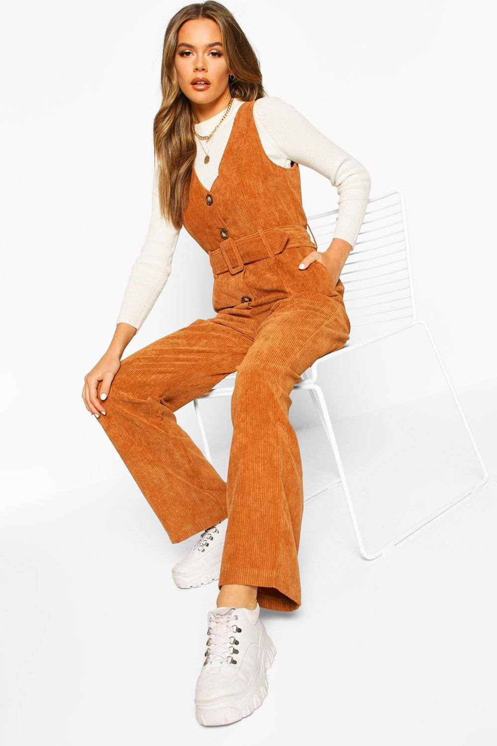70s Outfits – 70s Style Ideas for Women Cord Pinafore Belted Jumpsuit  AT vintagedancer.com