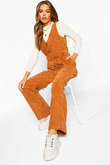 Womens Tan Cord Pinafore Belted Jumpsuit