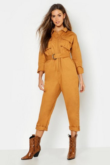 Womens Sand Heavy Twill Utility Jumpsuit