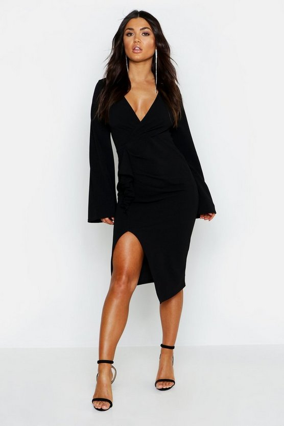 Womens Black Long Flared Sleeved Ruffle Detail Midi Dress