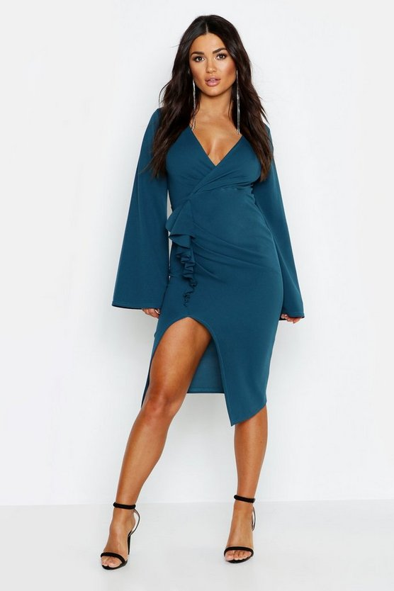 Long Flared Sleeved Ruffle Detail Midi Dress