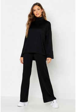 Womens Black Roll Neck T-Shirt + Trouser Co-Ord