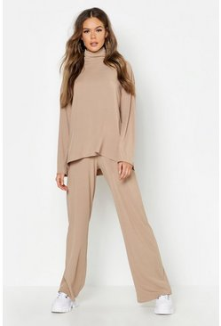 Womens Camel Roll Neck T-Shirt + Pants Co-Ord