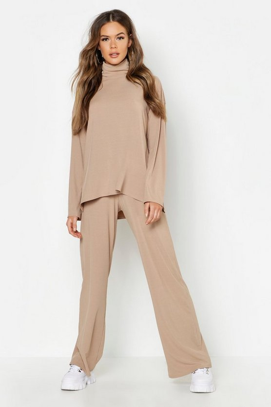 Womens Camel Roll Neck T-Shirt + Trouser Co-Ord
