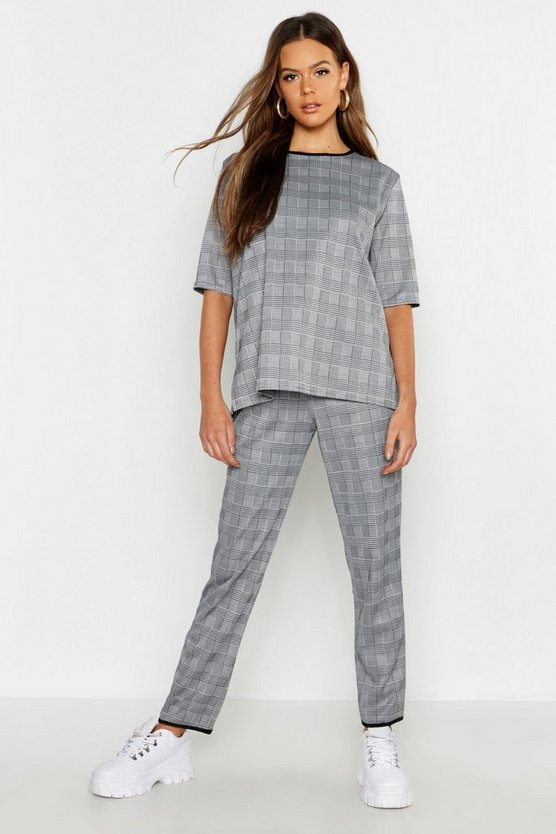 Womens Grey Checked Top + Tapered Trouser Co-Ord