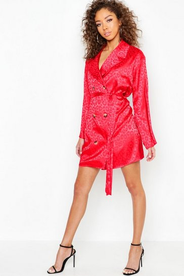 Womens Red Leopard Jacquard Satin Blazer Dress