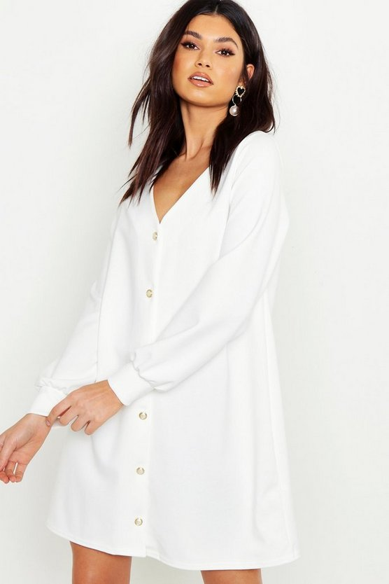 Pearl Button Through Balloon Sleeve Shift Dress
