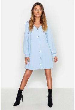 Womens Powder blue Pearl Button Through Balloon Sleeve Shift Dress