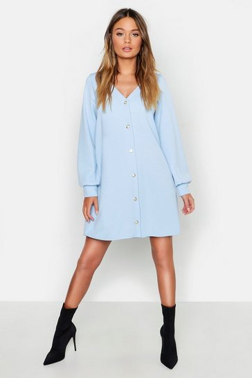 Powder blue Pearl Button Through Balloon Sleeve Shift Dress