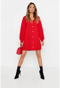 Red Pearl Button Through Balloon Sleeve Shift Dress