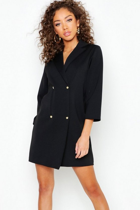 Pearl Button Wrap Shift Dress
