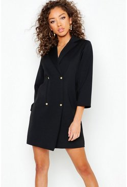 Pearl Button Wrap Blazer Dress, Black, Donna