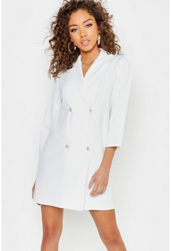 Pearl Button Wrap Blazer Dress, White, Donna