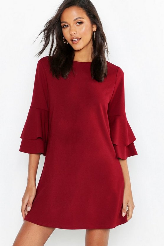 Volume Sleeve Stretch Shift Dress